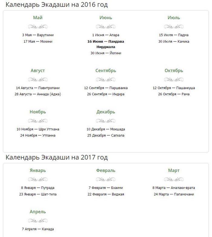 календарь экадаши