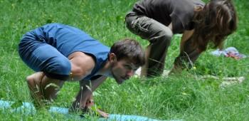 йога для друзей в лесу