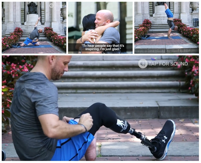 ветеран без ног преподаёт йогу